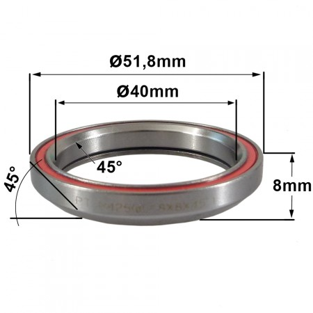 Roulement R425 40x51.8x8 (45°x45°)